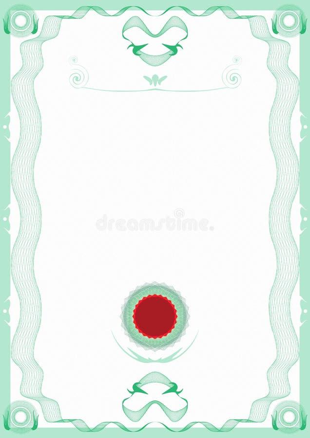 Certificat vert de cadre de guilloche avec le sceau rouge illustration libre de droits
