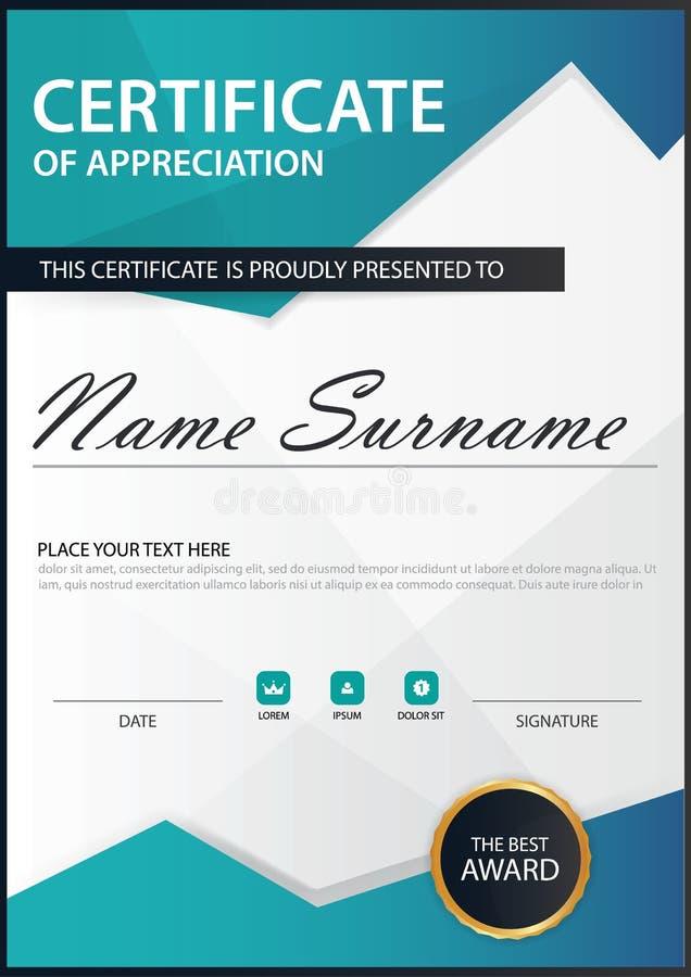 Certificat vertical d'élégance bleue de polygone avec l'illustration de vecteur, calibre blanc de certificat de cadre avec propre illustration de vecteur
