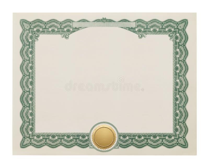 Certificat vide photo stock