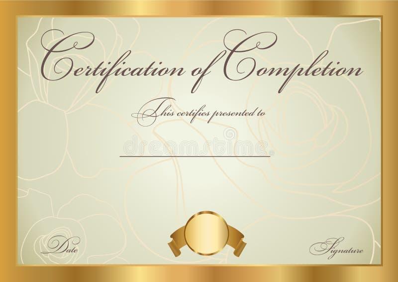 Certificate / Diploma award template. Pattern royalty free illustration