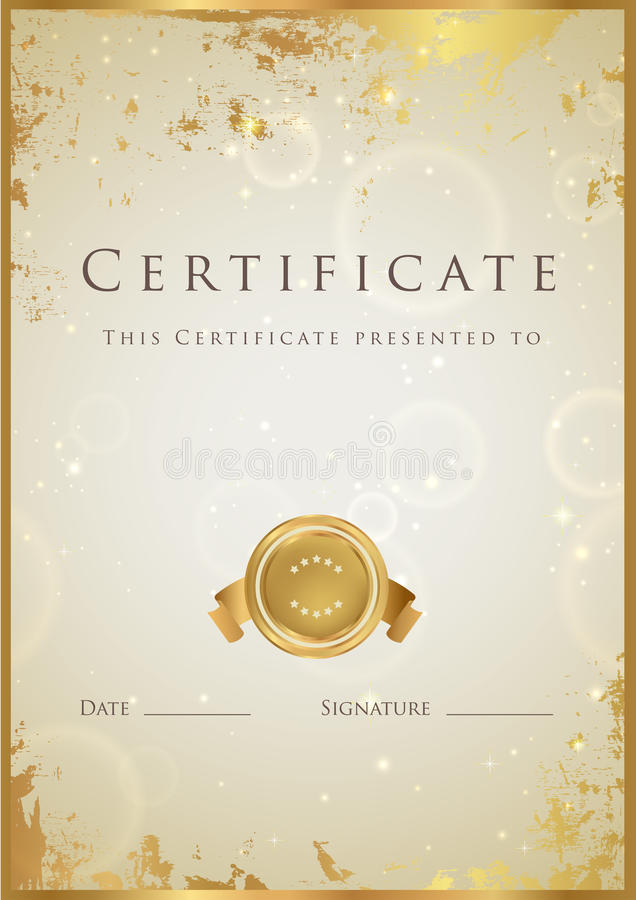 Gold certificate diploma award template pattern stock vector certificate diploma of completion template background with gold grunge texture frame medal certificate of achievement awards winner yelopaper Choice Image