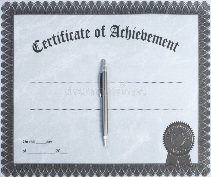 Certificate. Of achievement with pen