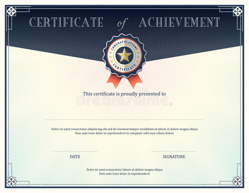 Certificate of achievement design template royalty free illustration