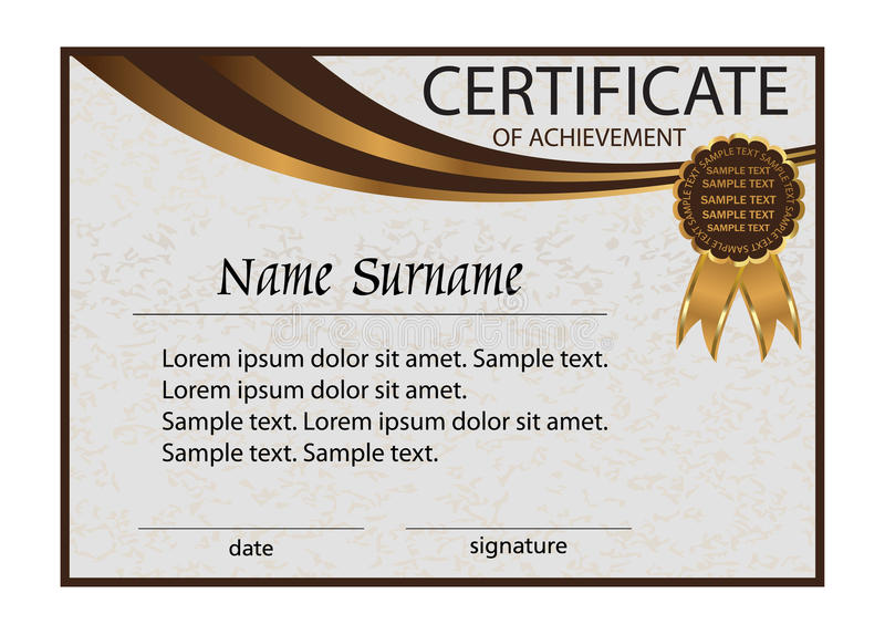 Download Certificate Of Achievement Or Diploma. Elegant Light Background  Stock Vector   Illustration: 78917108  Certificate Of Achievement Sample