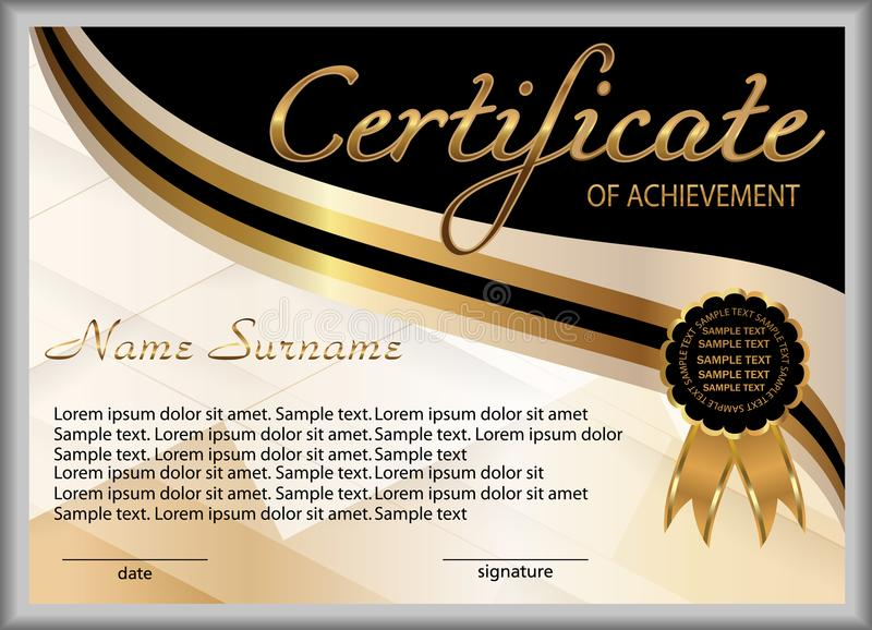 Certificate of achievement, diploma. Reward. Winning the competition. Award winner. Gold and black decorative elements. Vector stock illustration