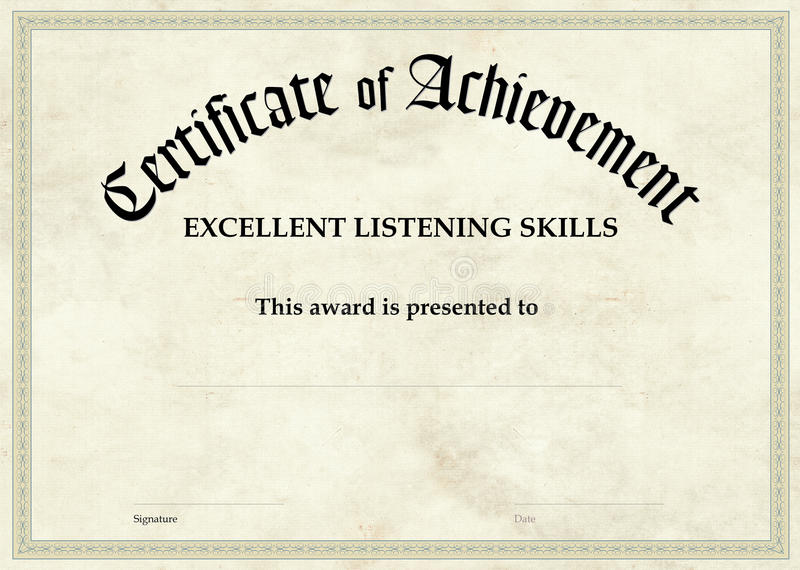 Certificate of Achievement - Excellent Listening royalty free stock photos