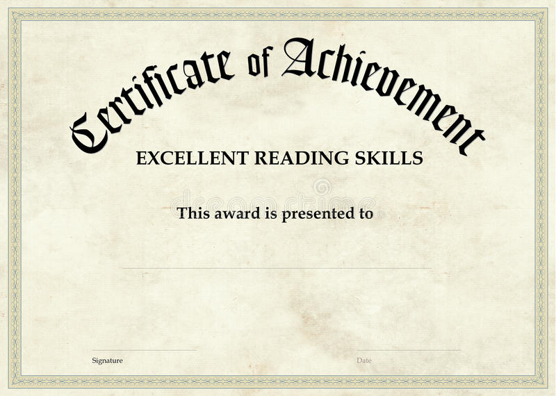 Certificate of Achievement - Excellent Reading royalty free stock photography