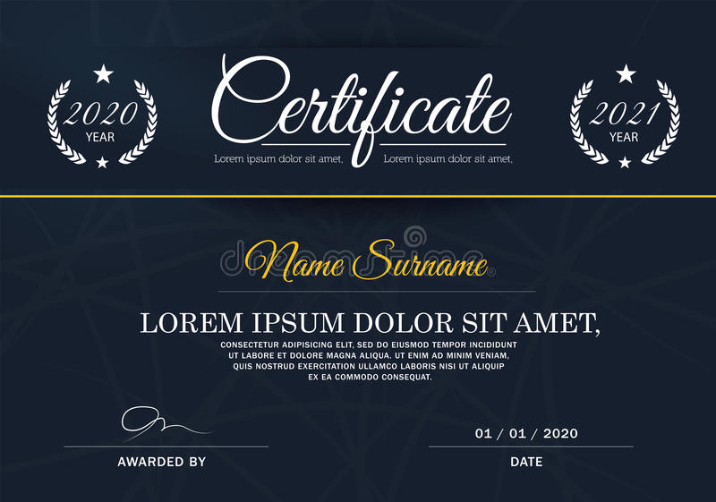 Certificate of achievement frame design template,blue-white. royalty free illustration