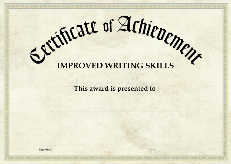Certificate of Achievement - Improved Writing royalty free stock image