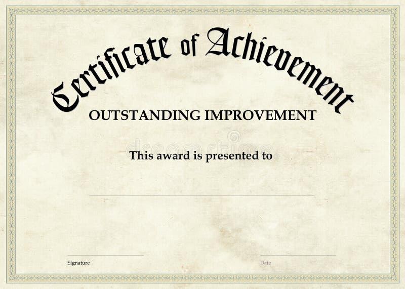 Certificate of Achievement - Improvement royalty free stock photos