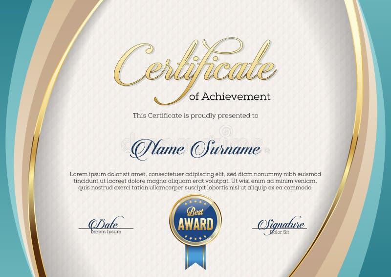 Certificate of Achievement. Landscape. Template. stock illustration