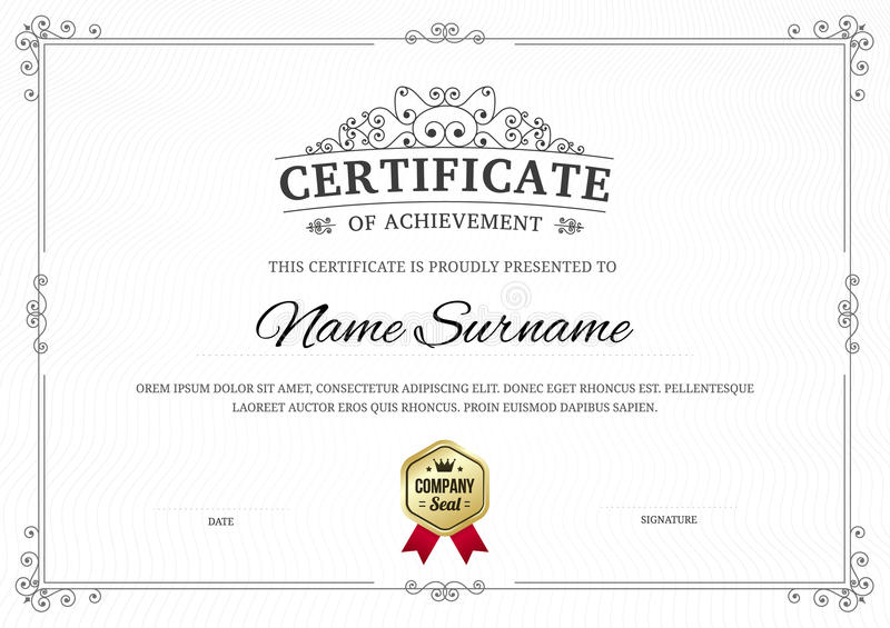 Certificate Of Achievement Template Background. Stock Vector