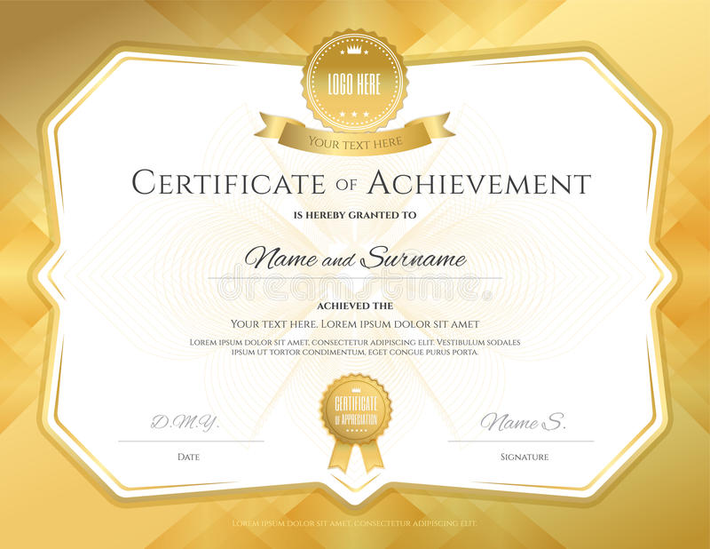 Certificate of achievement template with elegant gold border on download certificate of achievement template with elegant gold border on stock vector illustration of guilloche yelopaper Image collections