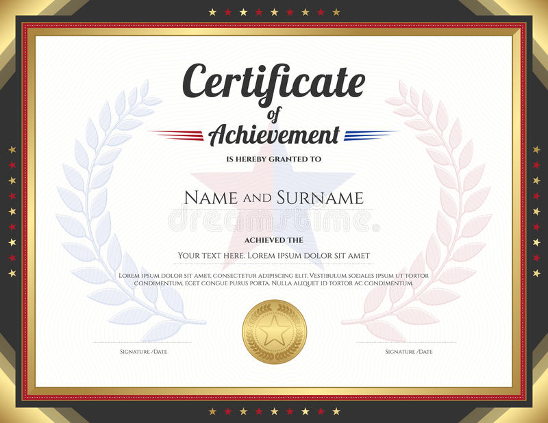 Download Certificate Of Achievement Template With Gold Border Theme Stock  Vector   Illustration: 75142659  Name A Star Certificate Template
