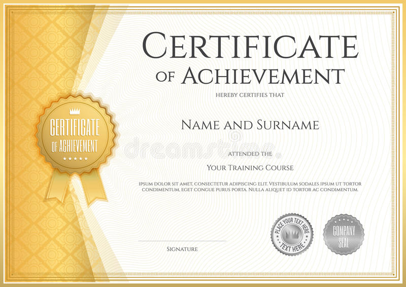 Download Certificate Of Achievement Template In Vector Stock Vector    Illustration: 65957621  Certificate Of Achievement Template