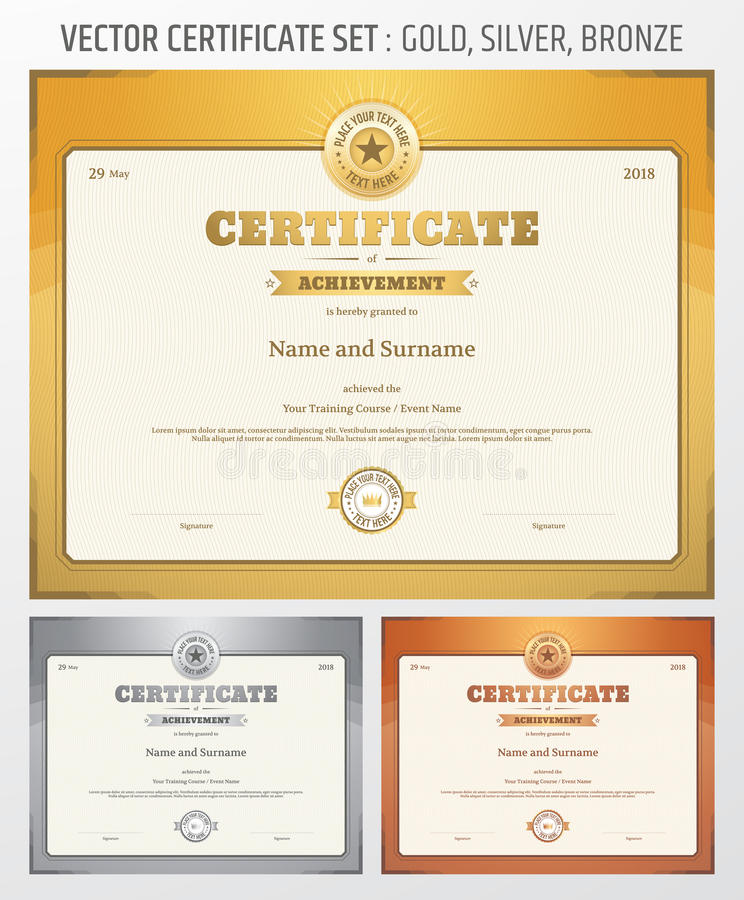 Certificate of achievement template in vector in gold silver and download certificate of achievement template in vector in gold silver and stock vector image yadclub Images