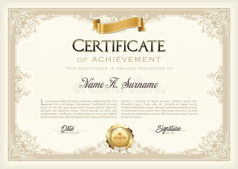 Certificate of Achievement Vintage Frame with Gold Ribbon. Landscape. stock illustration