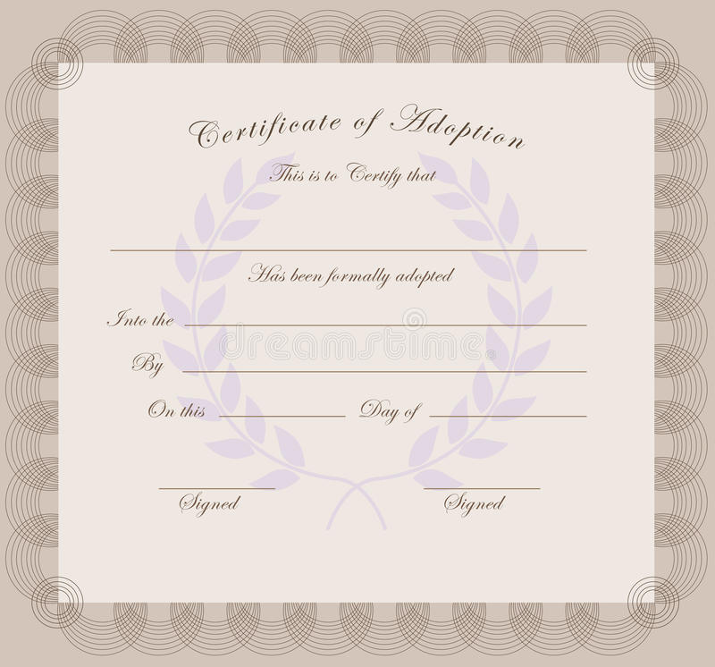 Certificate of adoption vector illustration