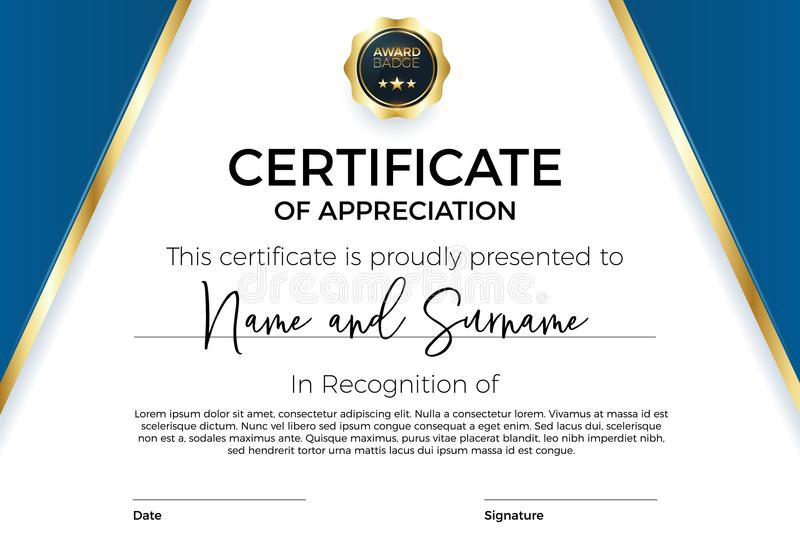 Certificate of appreciation or achievement with award badge. Premium Vector template for awards and diplomas. Modern, luxurious, elegant and minimal design stock illustration