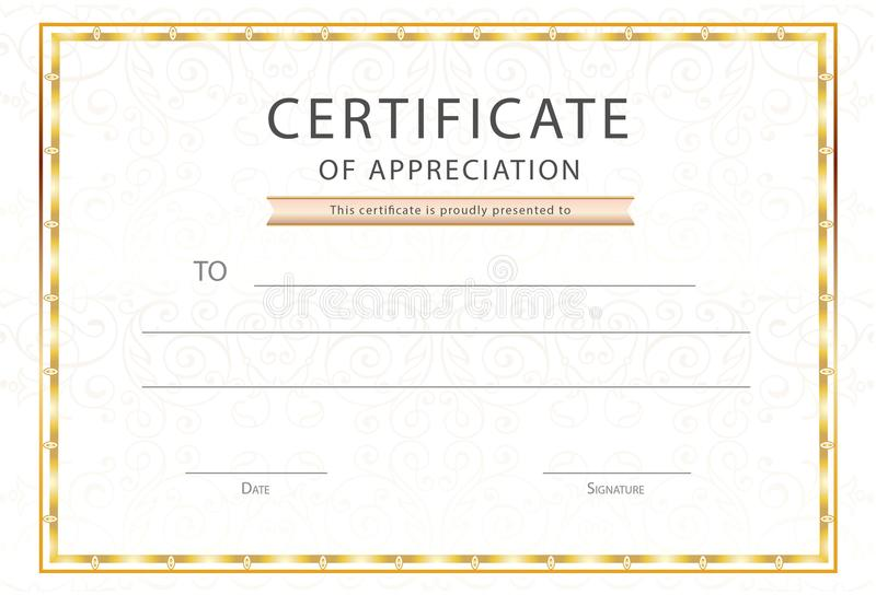 certificate of appreciation with golden frame and wavy lines free