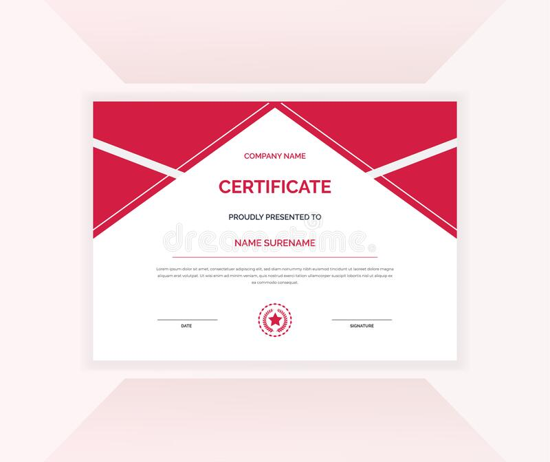 Certificate of appreciation template achievement certificate design with red elegant shape vector template stock photography