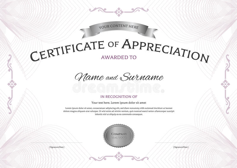 Certificate of appreciation template with award ribbon on abstra download certificate of appreciation template with award ribbon on abstra stock vector illustration of abstract yelopaper Images