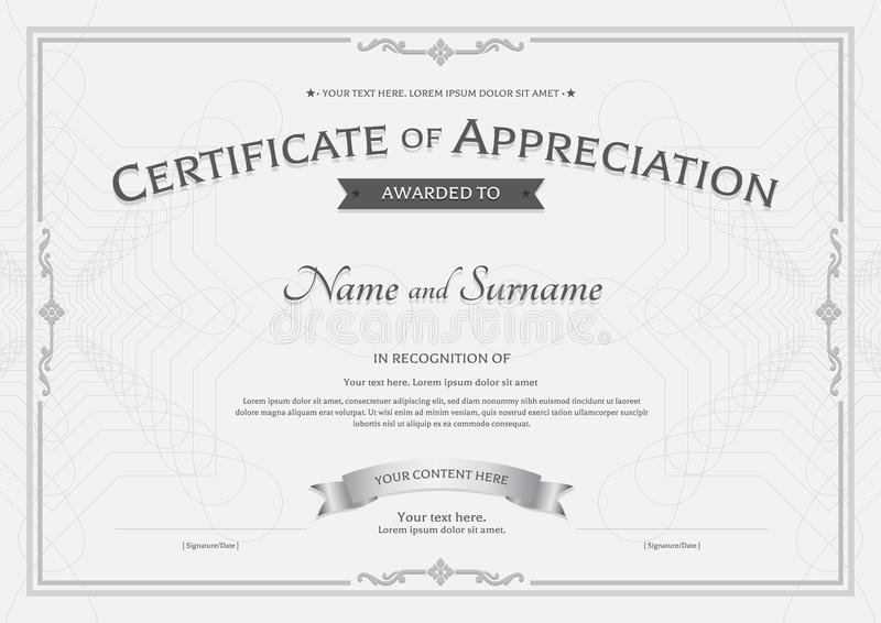 Certificate of appreciation template with award ribbon on abstract guilloche background with vintage border style vector illustration