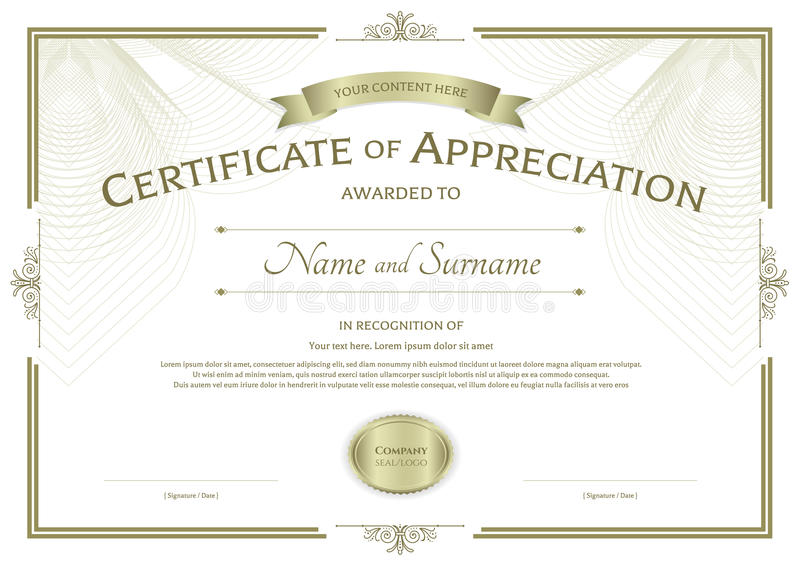 certificate of appreciation template with award ribbon on abstract guilloche background with
