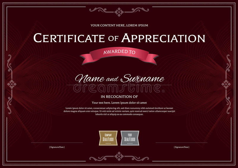 Certificate of appreciation template with award ribbon on dark r download certificate of appreciation template with award ribbon on dark r stock vector illustration of yadclub Images