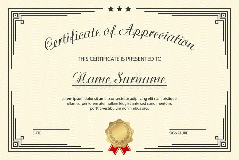 Certificate of appreciation template. Elegant design for vintage diploma with medal and frame. Vector. vector illustration