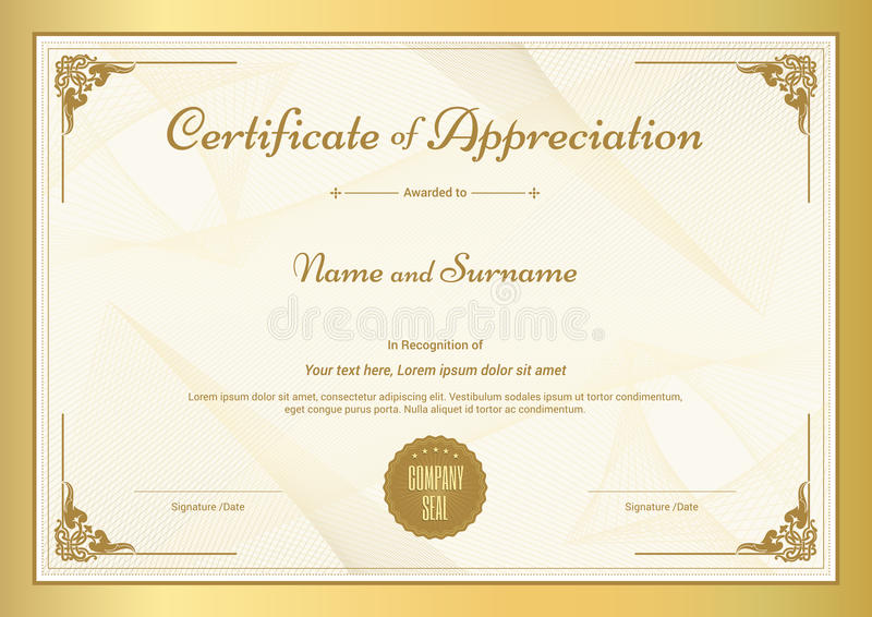 Certificate Of Appreciation Template With Gold Border Stock Vector