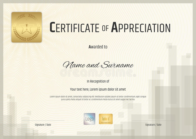 Certificate of appreciation template with gold sticker stock download certificate of appreciation template with gold sticker stock vector illustration 71868284 yelopaper Choice Image