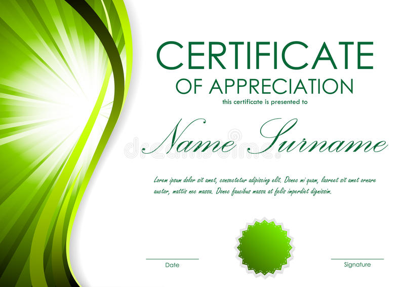 download certificate of appreciation template stock vector illustration of green motion 82040362