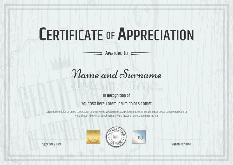 Certificate of appreciation template with grey wooden background download certificate of appreciation template with grey wooden background stock vector illustration of elements yadclub Image collections