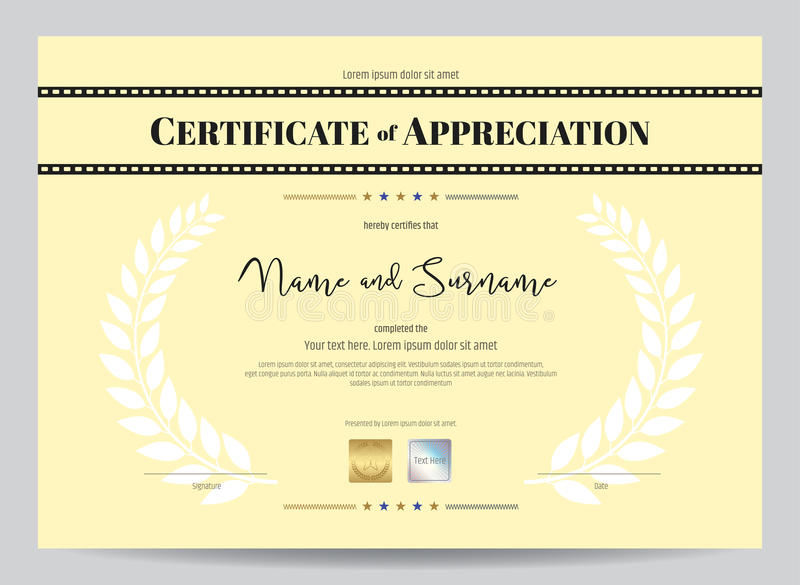 Certificate of appreciation template with movie film stripe head download certificate of appreciation template with movie film stripe head stock vector illustration of diploma yadclub Image collections