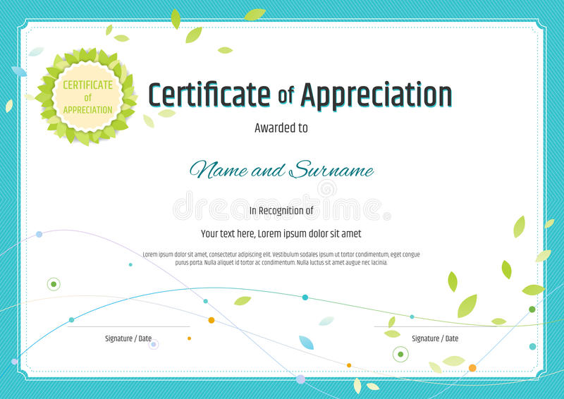 Certificate Of Appreciation Template In Nature Theme With Green ...