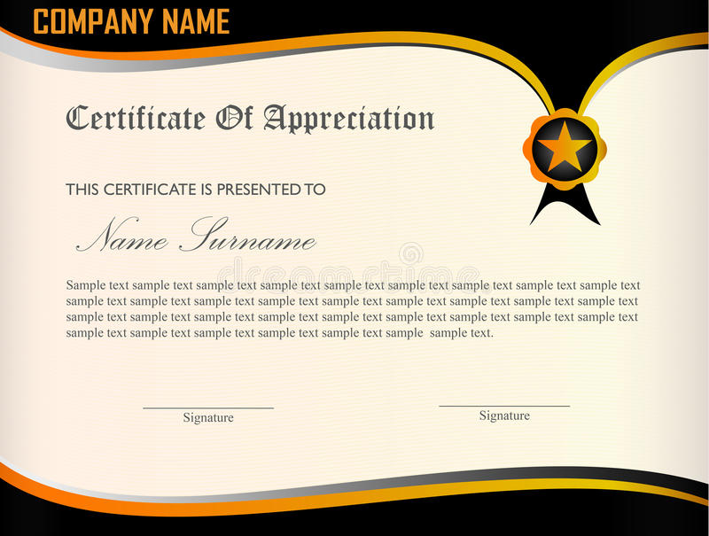 download certificate appreciation template stock vector illustration of black certificate 74767909