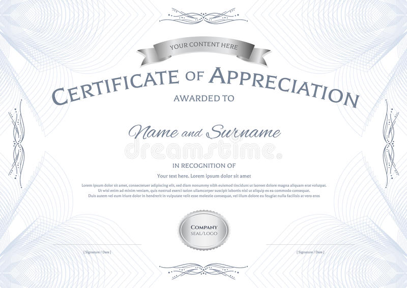 Certificate of appreciation template with silver award ribbon on download certificate of appreciation template with silver award ribbon on stock vector illustration of background yelopaper Images