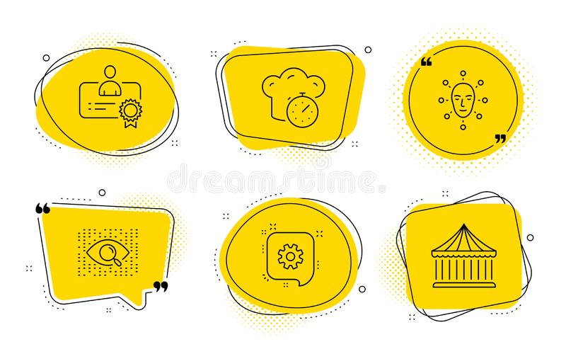 Face biometrics, Cogwheel and Cooking timer icons set. Vector. Certificate, Artificial intelligence and Carousels signs. Chat bubbles. Face biometrics, Cogwheel stock illustration
