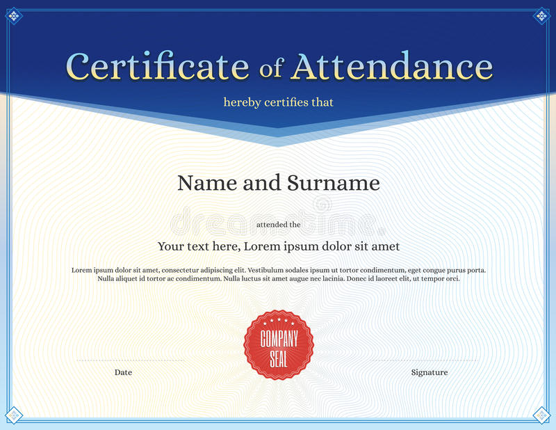Certificate Of Attendance Template In Vector Stock Vector ...