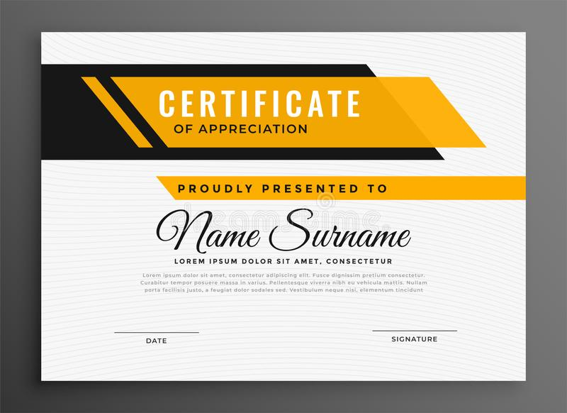Certificate award diploma template in yellow color vector illustration