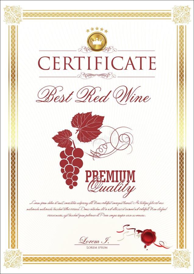 Certificate - Best Wine. Illustration vector illustration