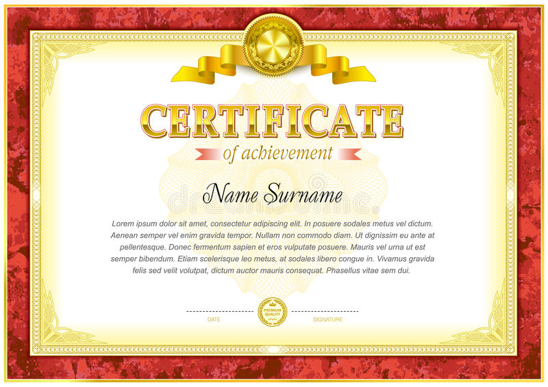 Certificate blank template stock illustration