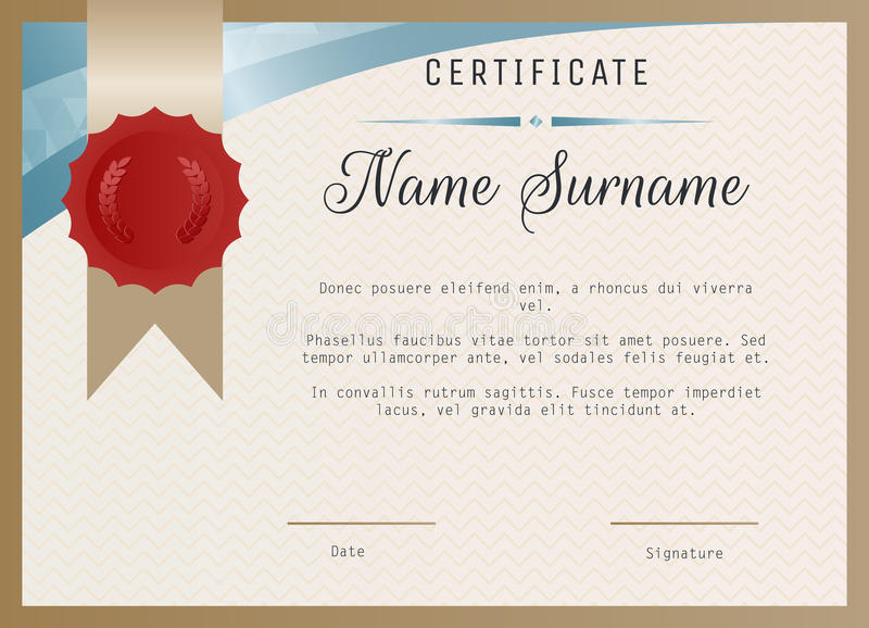 Certificate blank template vector with wax seal stamp. stock illustration