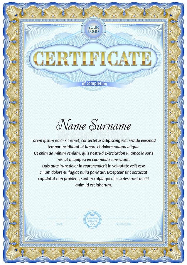 Certificate blank template. Vintage design. Blue color gamma vector illustration