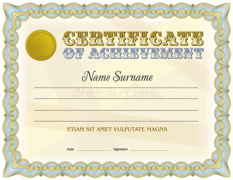 Certificate Blank Template Vintage Design Blue Color Gamma Stock