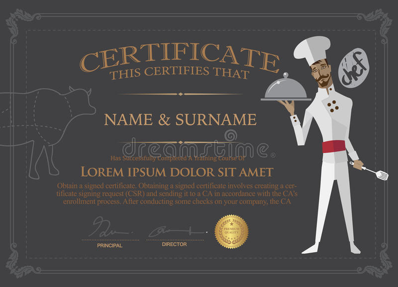 Certificate for chef Design Template.People who completed the co vector illustration