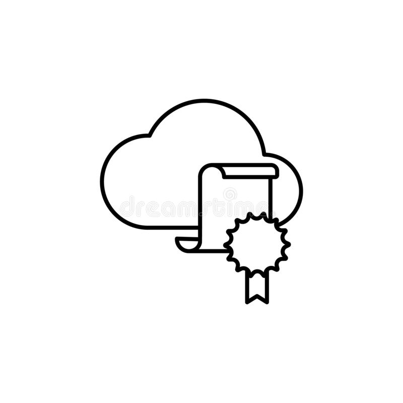 Certificate cloud education icon. Element of distance education line icon stock illustration