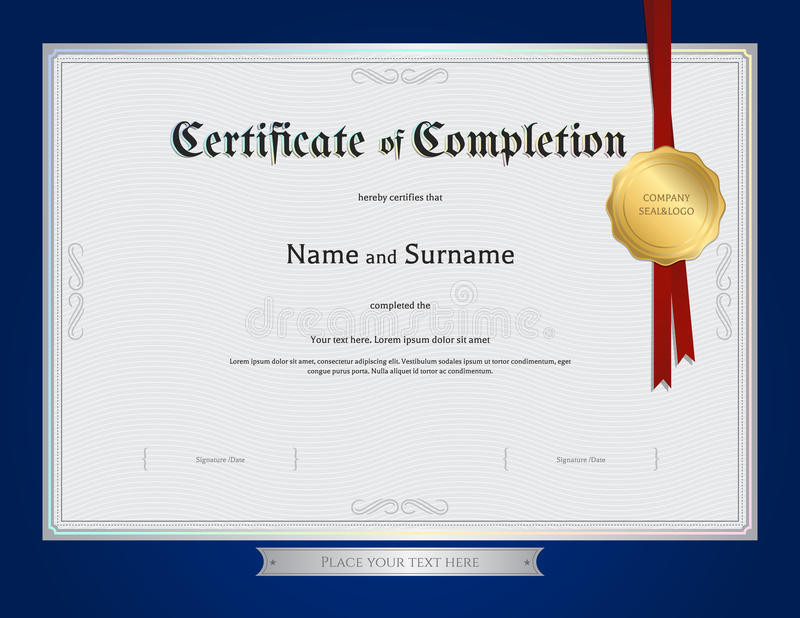 Certificate of completion template with blue border stock vector download certificate of completion template with blue border stock vector illustration of ornament document yadclub Choice Image