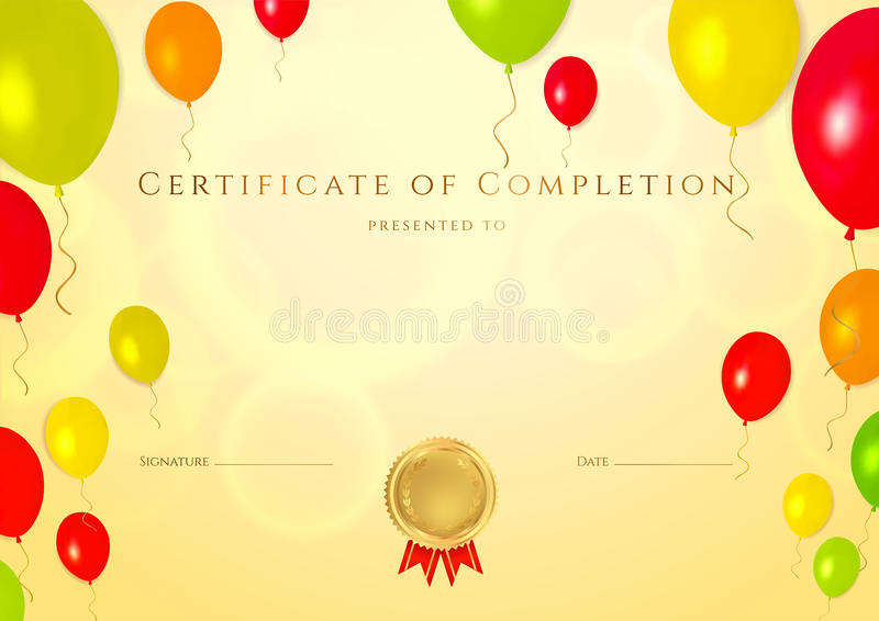 Certificate of completion template for children stock vector download certificate of completion template for children stock vector illustration of gift yelopaper Choice Image